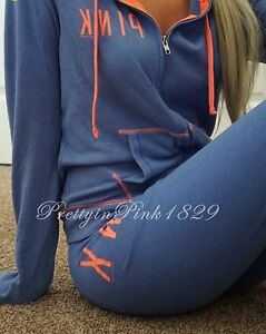 Victoria's Secret Pink Lounge Set Hoodie Crop Pants Outfit Perfect Zip Blue XS S