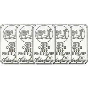 SilverTowne Logo 1 oz .999 Fine Silver Bar LOT OF 5