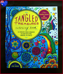 TANGLED TREASURES - ADULT COLOURING DeStress Therapy Colour-in 52 designs BOOK