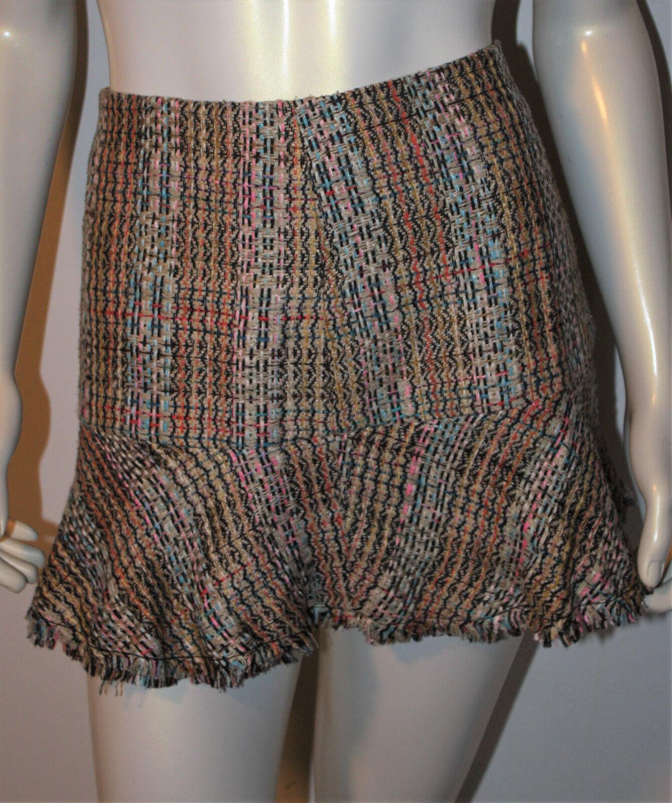 THEORY Volian Chromatic Silk Skirt Flirty Flare Hem 4 MWT  235 bluee Brown