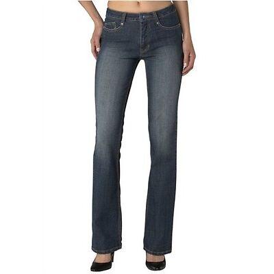 H.I.S Jeans Sunny NEU Stretch Gr.34-36 / L33 Damen Hose Bootcut Denim Blue Cross