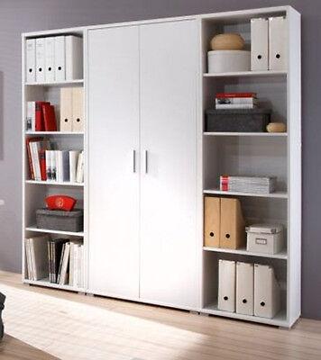 Office Line Regalwand 2 offene Regale 1 Aktenschrank Weiß weiss Dekor B185 cm