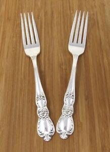 1847 Rogers Bros HERITAGE Dinner Forks Silverplate Set of 2 Forks Lot 7 1/2 Inch