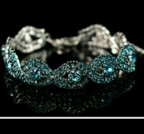 AUSTRIAN CRYSTAL  TURQUOISE BRACELET WOMENS PROM WEDDING BIRTHDAY 0415
