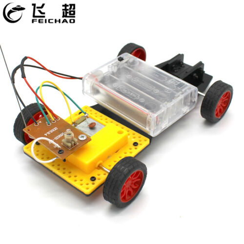 DIY Mini 4WD Remote Control Car Electric Motor Plastic Chassis Educational Toys