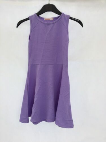 New Girls Debenhams Bluezoo Textured Lavender Purple Skater Dress Age 7-8 DD60