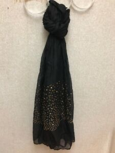 Black-Solid-Color-Long-Studded-Scarf-78-034-long-35-034-wide