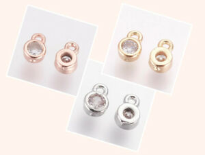 5-Stueck-Anhaenger-Cubic-Zirconia-Strass-6x4x2mm-TOP-rose-gold-platin