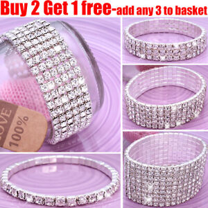 Full-Crystal-Rhinestone-Bracelet-Bangle-Women-Ladies-Jewellery-Wedding-Party
