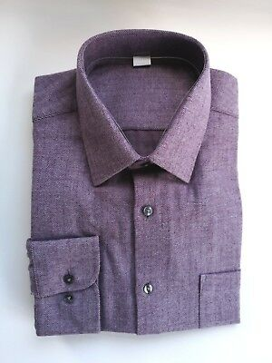 Mens Ex M/&S Marks And Spencers Brushed Cotton Shirts Long Sleeve Regular Fit