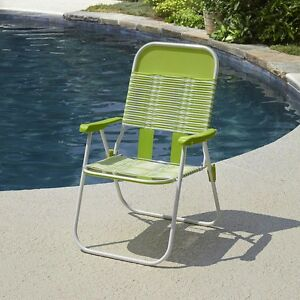 Retro Vintage Lime Pvc Web Tube Portable Folding Chair Stripes Sling