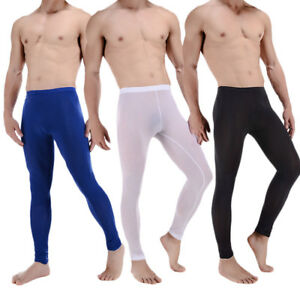 8190a7ad2420d Mens Sexy Sheer Mesh Leggings Long Johns Pants Stretch See-through ...