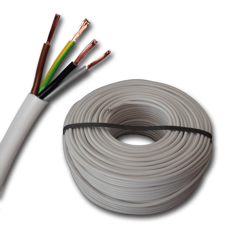 (  m) H03VV-F 4G0,75 mm² H03VVF 4x0,75 weiß - Schlauchleitung Leitung H03VVF