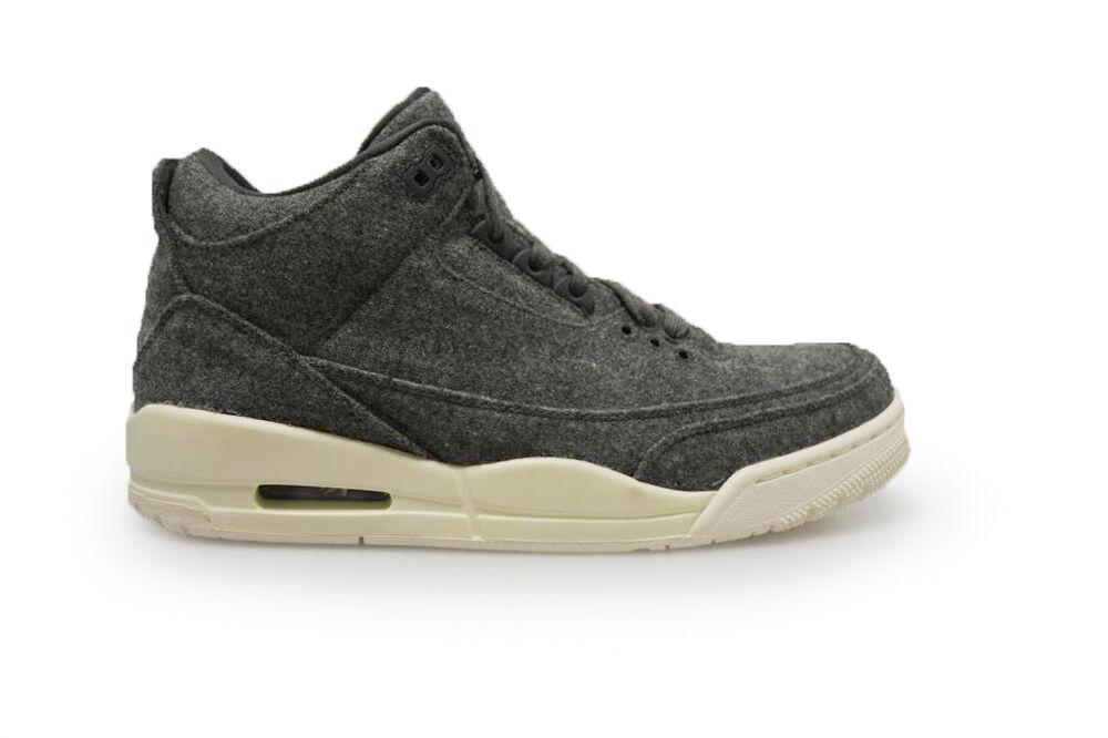 Homme Nike Jordan 3 Retro Laine - 854263004-Gris Blanc Blanc Blanc Baskets- 0b891b