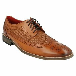 London Brogues Uomo Lace Formal Weaved Leather Base Up Tan Durham Office scarpe Washed 1qxFTA5