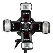 Flexible Universal Four Speedlite Adapter Hot-Shoe Mount Bracket for Flash