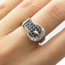 925 Sterling Silver Real Sapphire Gemstone Belt Buckle Design Ring Size 6
