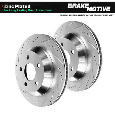 2003 For Mercedes-Benz E500 Drilled Slotted Front Rotors and Pads RWD w//Sprt Pkg