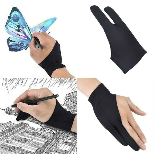Black Two Finger Anti-fouling Glove For Artist Drawing//Painting//Graphic Unisex