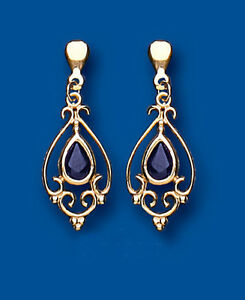 Unique Wishlist 9ct Yellow Gold Sapphire Victorian Style Drops *AP6855