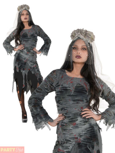 Ladies Zombie Corpse Bride Dress Womens Halloween Fancy Dress Costume Outfit
