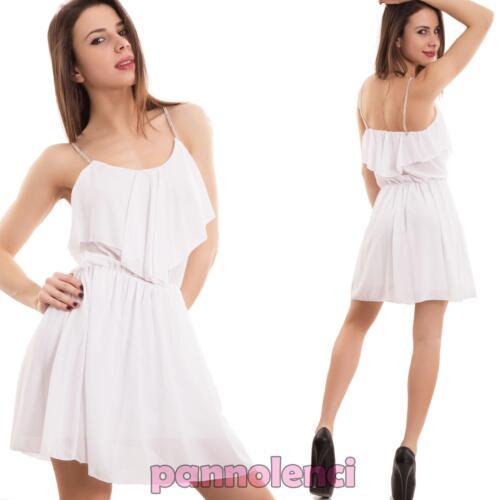 Vestito donna miniabito velato chiffon ruches strass ondeggiante nuovo CC-1292