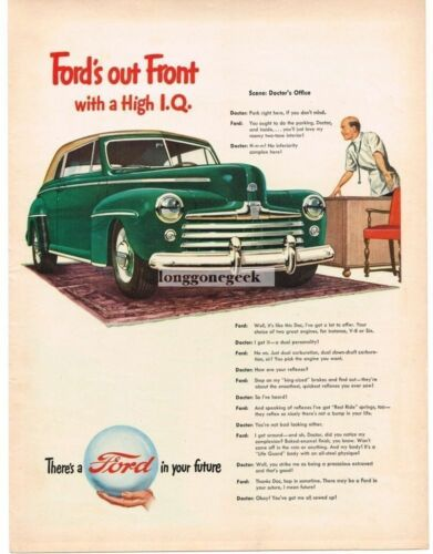 1947 Ford 2door Convertible Coupe High IQ Doctor Vtg. Print Ad