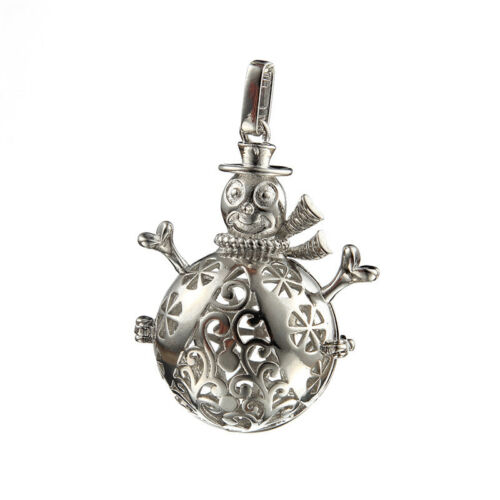 1pcs 45*35mm DIY Snowman Hollow Ball Silver Charms Pendant  Fit Necklace