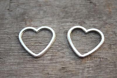 25pcs Heart charms Silver tone Heart Charm pendants,heart Connector 24x25mm