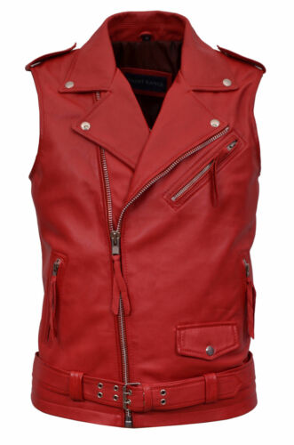 Steam pelle Motorcycle in Brando Gilet italiana di Red Biker da agnello con Punk uomo logo wStOFgRxq