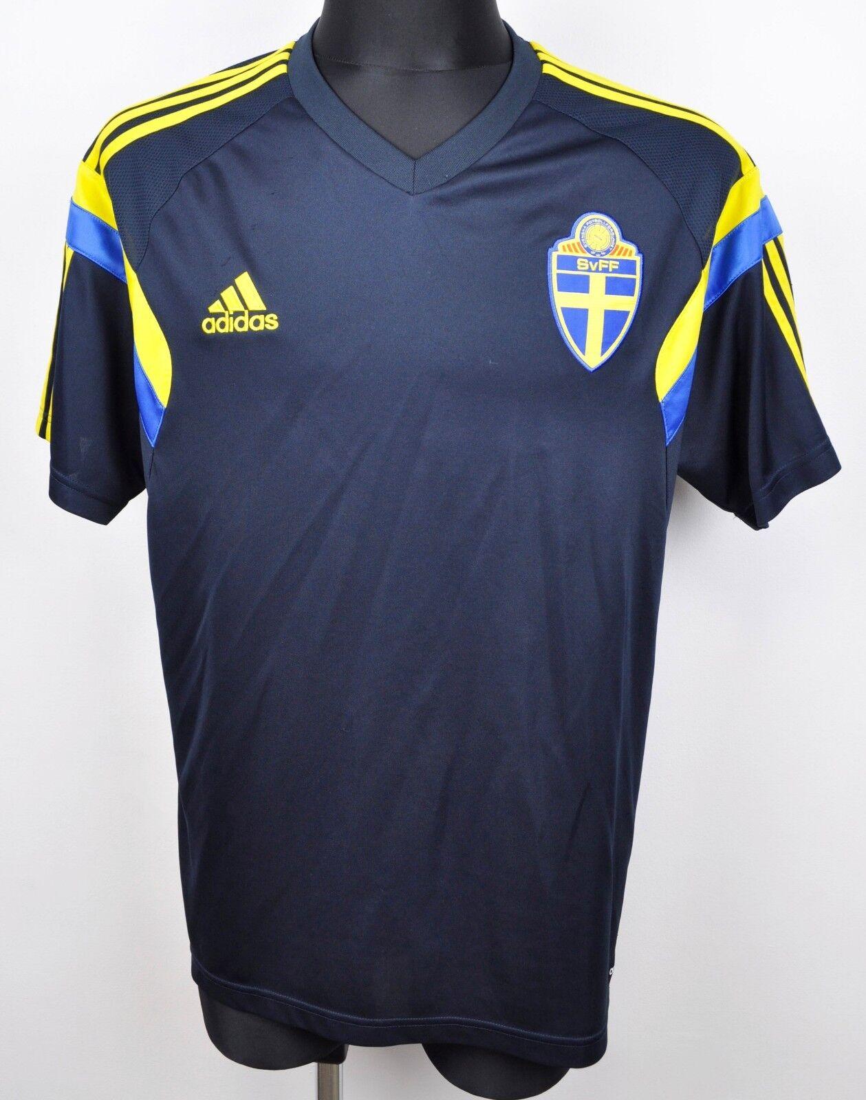 SWEDEN Away National Football Shirt 2014 Men's XL Jersey Adidas Trikot Swedish