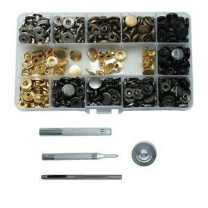 165Pcs Leather Snap Fasteners Kit Metal Button Press Studs Setting Tool Sewing