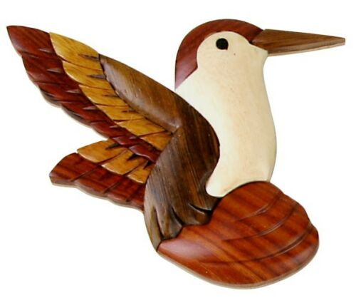 INTARSIA WOOD HUMMINGBIRD MAGNET handsome handcrafted wood mosaic