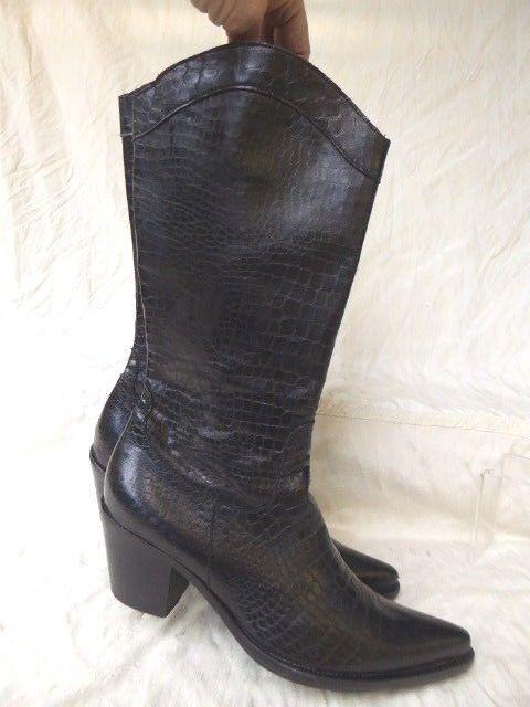 FABRI botas luxe façon santiags cuir cuir cuir negro croco T 36 parfait état 6d1926