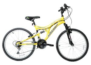 "Kids Boys Mountain Bike Hector 24"" Wheel Full Suspension Yellow 14"" Frame 8+"