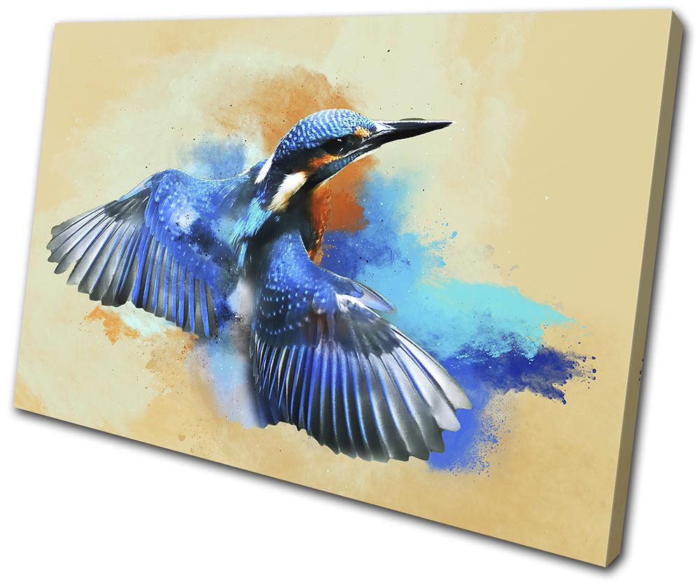 Abstract Bird Kingfisher Animals Animals Animals SINGLE TELA parete arte foto stampa 6c5126