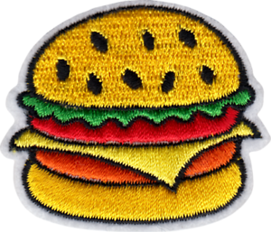 20305 Cheeseburger Hamburger BBQ Diner Fast Food Yummy Embroidered Iron On Patch