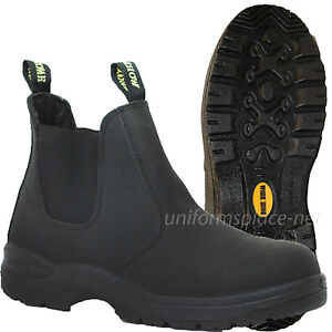 "Work Zone Boots Men 6"" Soft-Toe Pull-on Leather Black Slip ..."