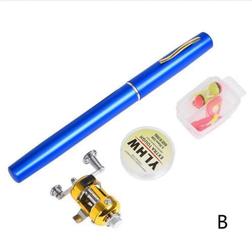 Fishing Rod Portable Mini Pocket Pen Shape Aluminum Fish Pole with Reel Neu