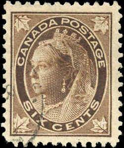 1897-Used-Canada-6c-F-VF-Scott-71-Queen-Victoria-Maple-Leaf-Stamp