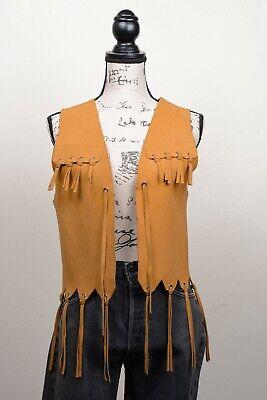 Vintage 1960/'s Genuine Suede Leather Studded Hippie Vest