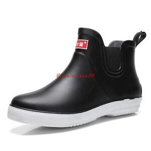mens low top shoes rain casual boots waterproof flats slip