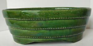 Vintage-Oval-Shape-Planter-Dark-Green-UP-CO-USA-Mid-Century-Art-Deco-Flower-Pot