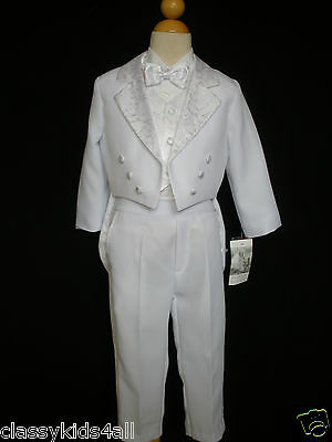 2T-20 Boys Formal Tuxedo Suits w//Vest 5-piece Suit Set Gray size S-XL