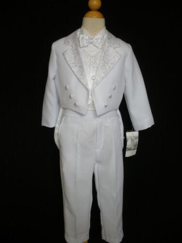 Neuf Garçons 5 PC formelle Robe Smoking Gilet Costume Set Blanc Tailles S-XL 2T-4T 5-20
