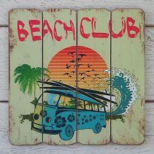 Retro Vintage Wooden Seaside Plaque BEACH CLUB Blue Camper Van & Surfboard Sign