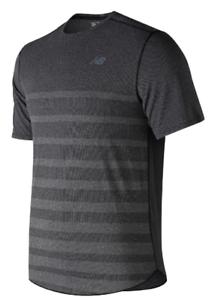 NEW-BALANCE-Speed-Short-Sleeve-T-Shirt-Mens-Black-Heather-Grey-Small-REF156