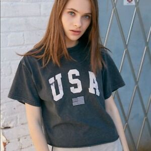 764ca38c Image is loading New-Brandy-Melville-black-wash-Aleena-USA-embroidered-