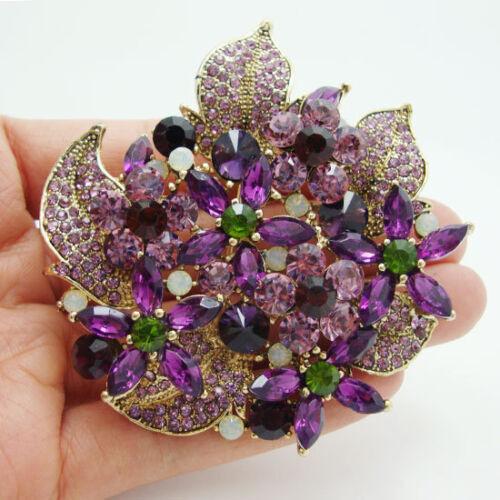 Magnifique Fleur Cluster Floral Feuille Violet Strass Cristal Broche Broche Pendentif