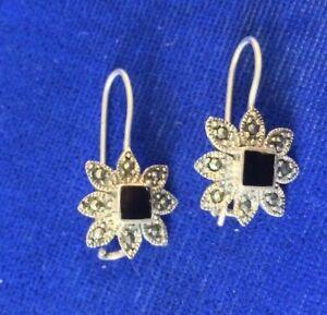23cd5ca1b Image is loading Vintage-Sterling-Silver-Black-Onyx-Flower-Pierced-Dangle-